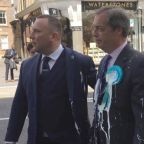 Nigel Farage held hostage on Brexit party bus surrounded by milkshake-holding protesters