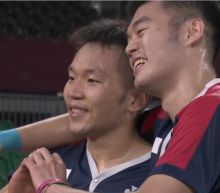 Taiwan's national flag anthem plays during badminton medal ceremony in historic Tokyo Games moment