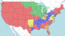 If you're in the green, you'll get Colts vs. Bears on TV