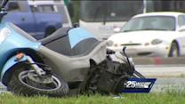 1 critical after crash involving car, moped
