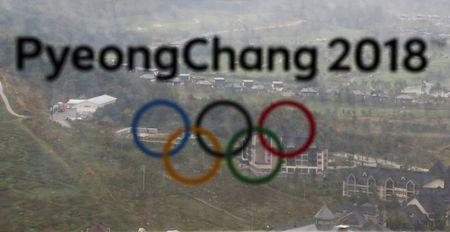 FILE PHOTO: The PyeongChang 2018 Winter Olympic Games logo is seen at the the Alpensia Ski Jumping Centre in Pyeongchang