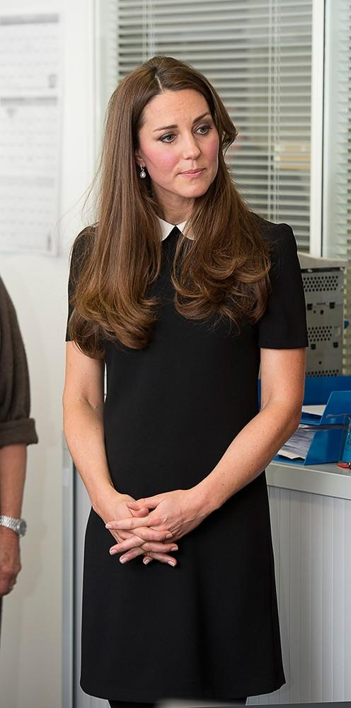Kate Middleton wore this black Topshop dress as she visited the headquarters of Child Bereavement UK.