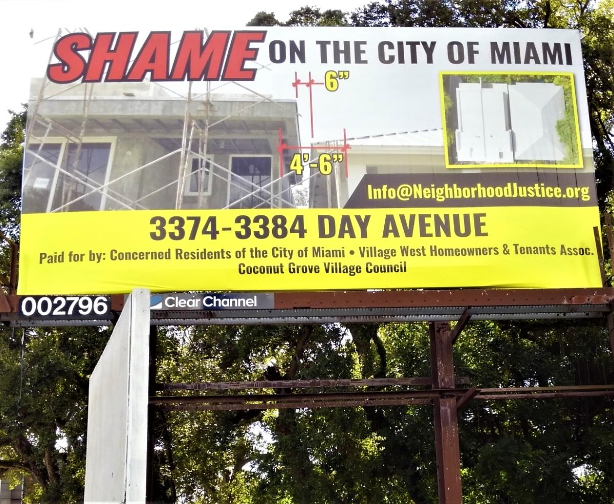 A group of concerned residents, including Miami Dade College architectural professor Melissa Meyer, came up with $3,100 to pay for the billboard along Grand Avenue and 33 Avenue.