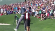 Jordan Spieth hit an insane bunker shot to win the Traveller's Championship and went berserk with his caddy