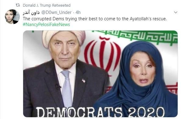 Trump tweets fake image of Pelosi & Schumer with Iranian flag