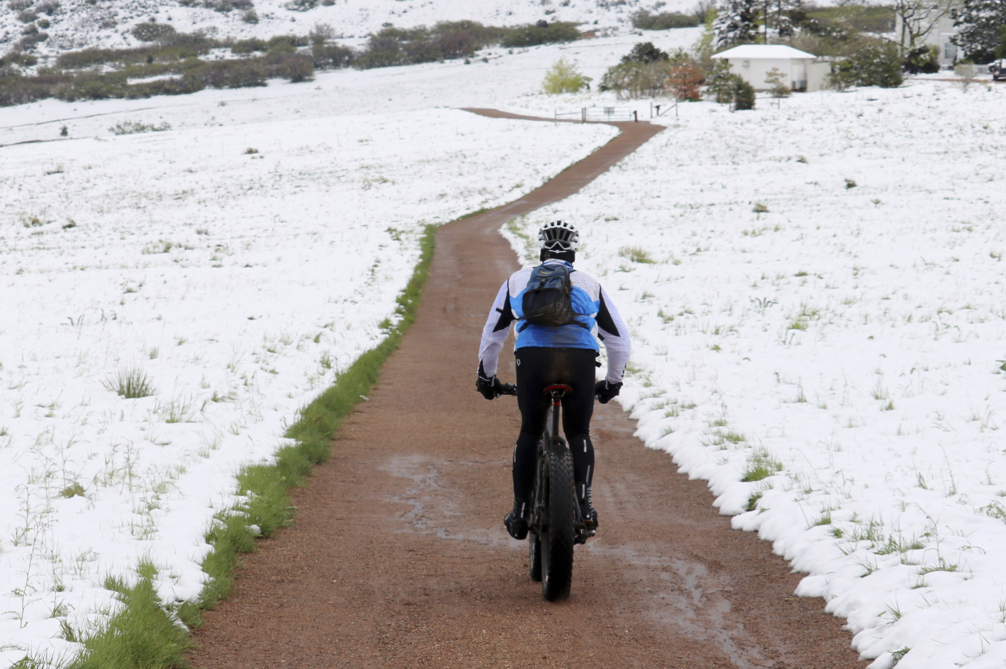 In this photo provided by Adriana Wiersma, a bicyclist rides a trail in the snow-covered Ken Caryl Valley near Littleton, Colo., after a late spring storm blanketed the area with snow, seen Tuesday morning, May 21, 2019. Much of the West is experiencing weird weather. Colorado and Wyoming got an unusually late dump of snow this week. In California, growers are frustrated by an unusually wet spring that has delayed the planting of some crops like rice and damaged others including strawberries and wine grapes. (Adriana Wiersma via AP)