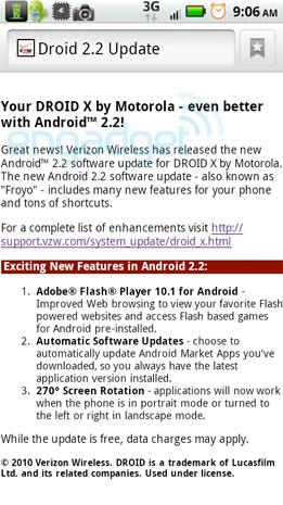 Droid Does website points to imminent Froyo update for Droid X... but what does it mean?