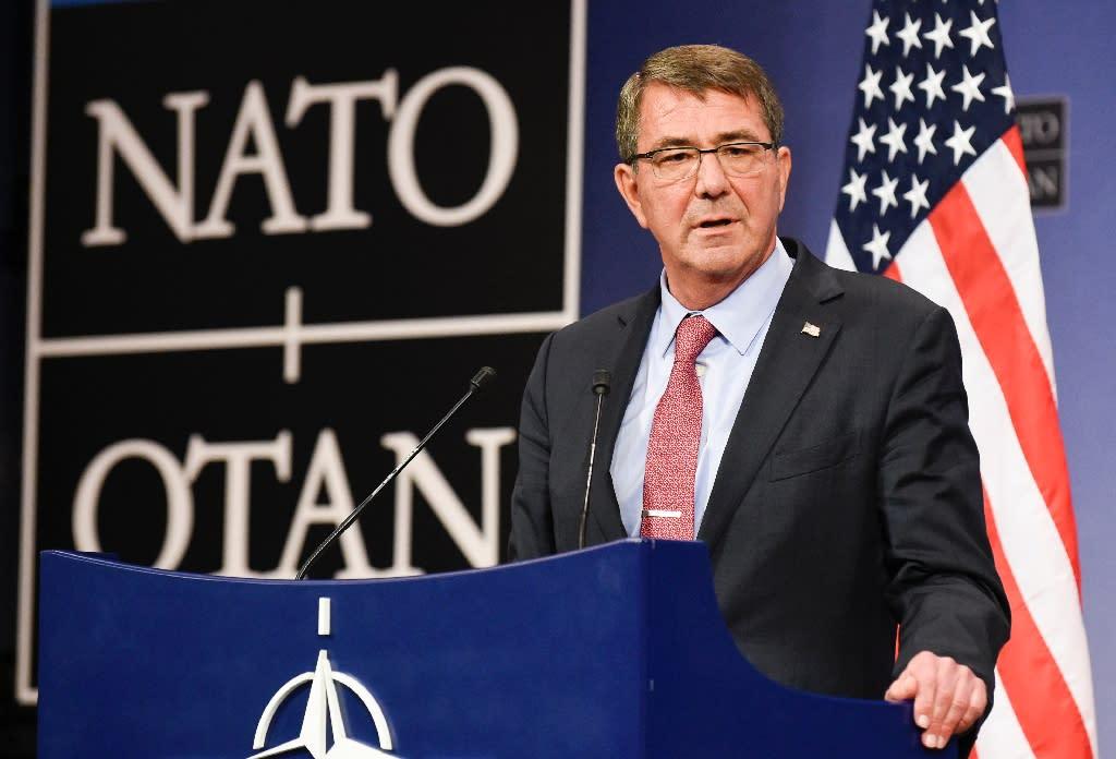 US defense minister Ashton Carter speaks at NATO Headquarters in Brussels on October 8, 2015 (AFP Photo/John Thys)