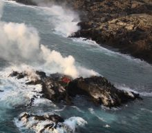 Photo: Kīlauea volcano's lava forms new land off Hawaii's coast