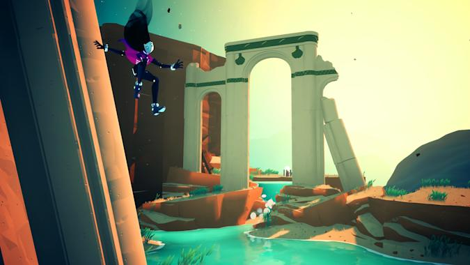 A screenshot from Solar Ash, showing protagonist Rei falling down the side of a structure with a broken archway in the background.