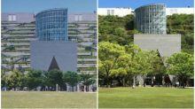 日本福岡地標ACROS建築物 階梯花園設計25年後被淹沒