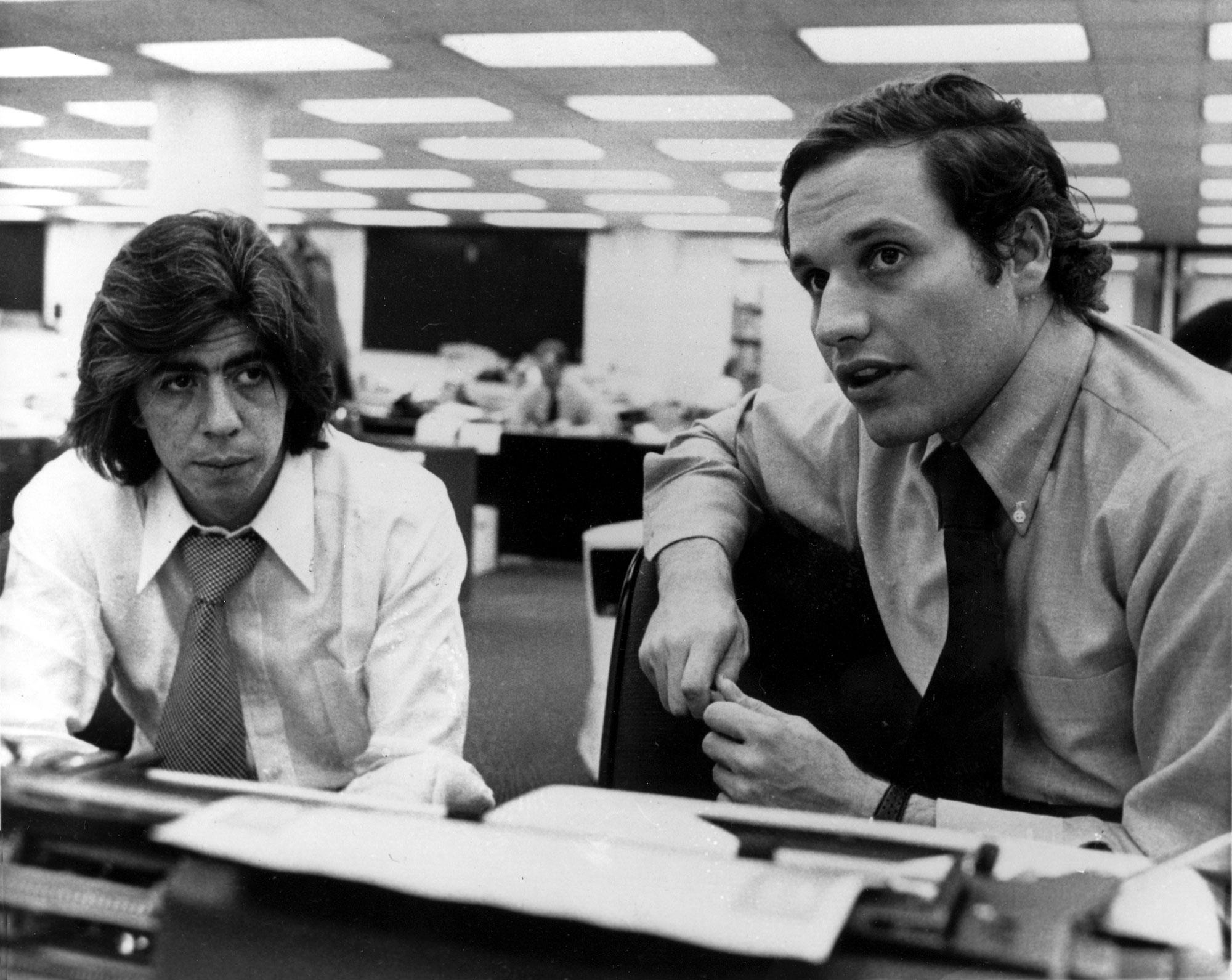 <p>Washington Post writers Carl Bernstein, left, and Robert Woodward, who pressed the Watergate investigation, in Washington, D.C., on May 7, 1973. (Photo: AP) </p>