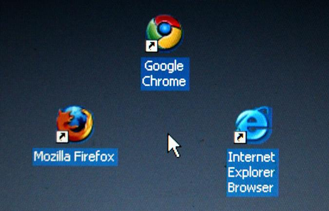MUNICH, GERMANY - SEPTEMBER 06:  In this photo illustration Google's Chrome browser shortcut, Google Inc.'s new Web browser, is displayed next to Mozilla Firefox shortcut and Microsoft's Internet Explorer browser shortcut, on an laptop.   (Photo Illustration by Alexander Hassenstein/Getty Images)