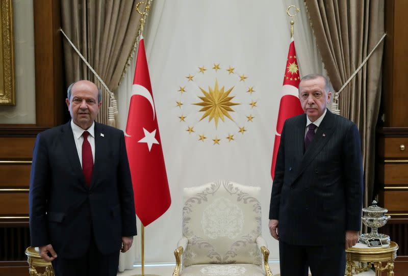FILE PHOTO: Turkish President Erdogan meets with Tatar, prime minister of the breakaway state of Northern Cyprus, in Ankara