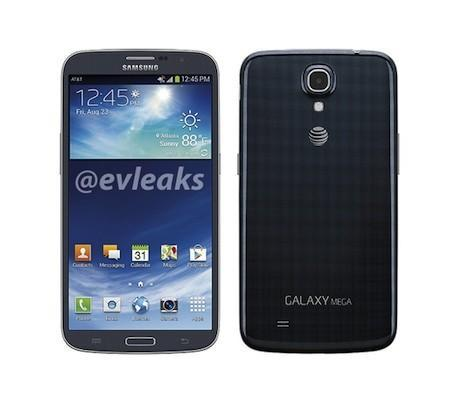 Galaxy Mega 6.3 press render surfaces with navy blue body, AT&T branding