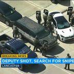Gunman still on loose after sheriff's deputy wounded in shoulder at Lancaster station