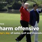 On state visit to Japan: Trump's day of sumo, golf and cheeseburgers