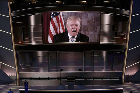 Republican presidential nominee Donald Trump speaks live via satellite from Trump Tower in New York City during the second session at the Republican National Convention in Cleveland, Ohio, July 19, 2016. REUTERS/Mike Segar