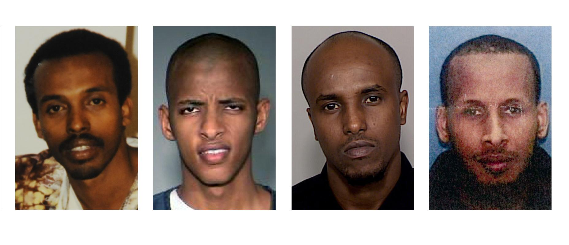 FILE - This combination of undated photos show Somali nationals, from left, Mahamud Said Omar, Abdifatah Yusuf Isse, Salah Osman Ahmed, and Omer Abdi Mohamed. Nine people convicted in a government investigation of terror recruitment and financing for an al-Qaida-linked group in Somalia are to be sentenced in U.S. District Court in Minneapolis. Authorities say more than 20 young men have left Minnesota to join al-Shabab since 2007(AP Photo/file)