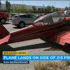 Small plane lands on 215 Fwy in San Bernardino