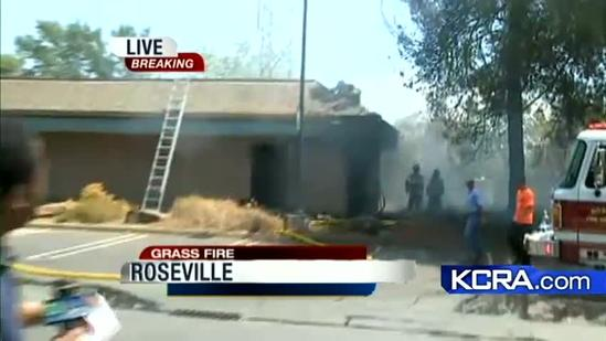 Roseville grass fire spreads to building