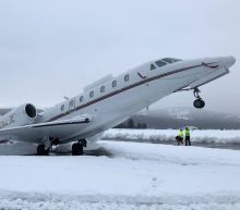 Snow leaves plane in tail-stand at Truckee Tahoe Airport