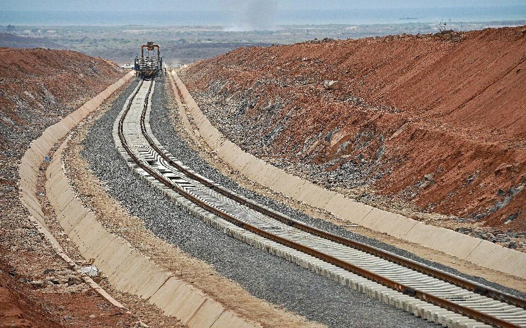 Work in progress on the new railway line linking Djibouti with Ethiopia's capital Addis Ababa pictured in Djibouti on May 5, 2015 (AFP Photo/Carl De Souza)