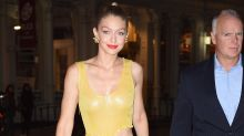 Gigi Hadid Flashes Her Waist In Yellow Dress