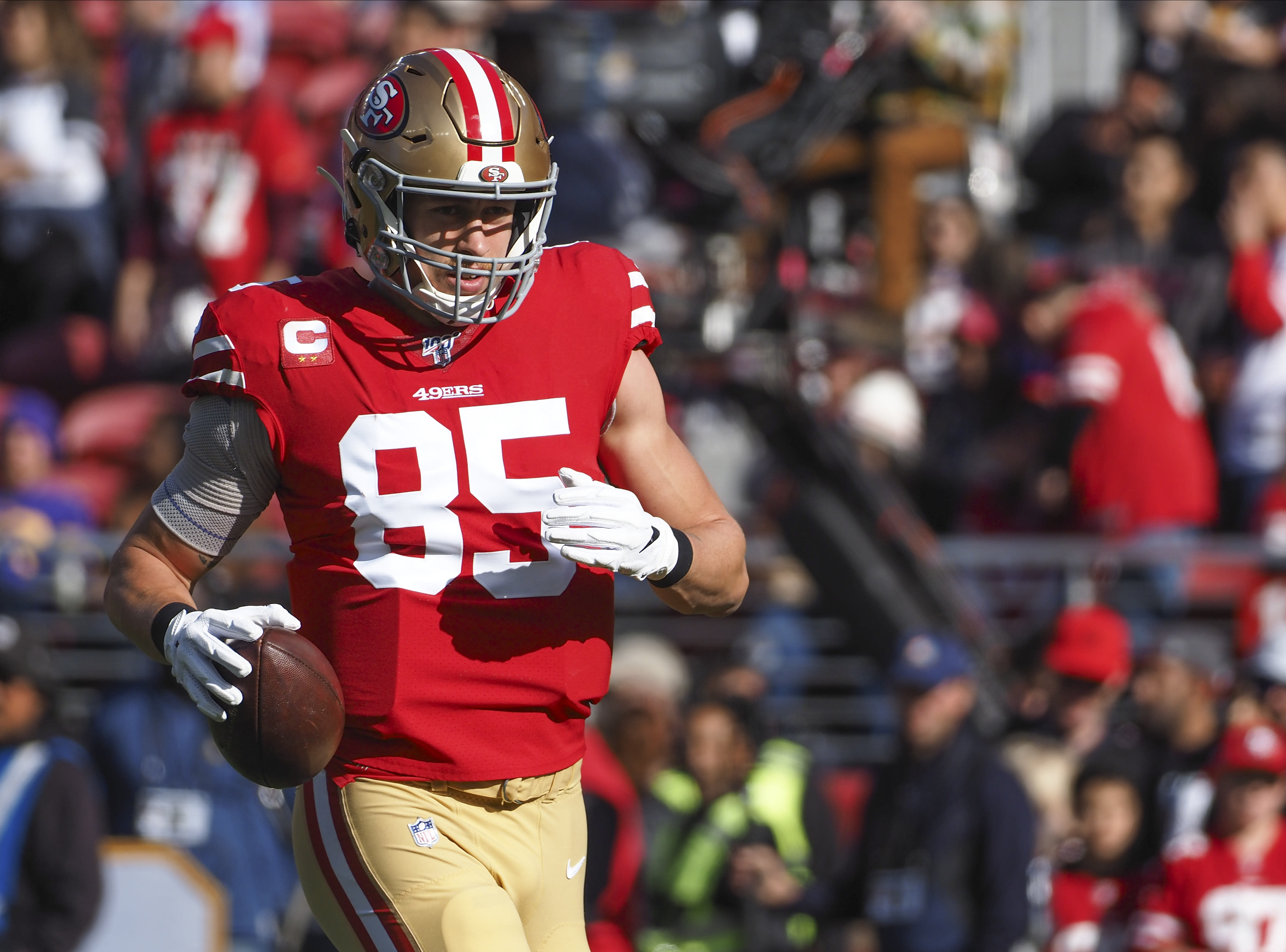 George Kittle upbeat, but offers no insight on whether he'll play vs. Giants