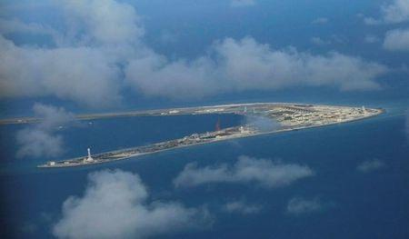 An aerial view of China occupied Subi Reef at Spratly Islands in disputed South China Sea