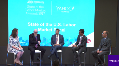 Nicole Sinclair of Yahoo Finance sits down with U Chicago's Erik Hurst (far left), Princeton's Alan Krueger, ADP CFO Jan Siegmund, and Moody's Mark Zandi as part of the ADP Research Institute summit