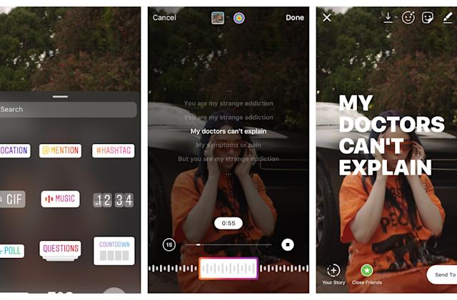 Instagram makes it easy to add song lyrics to your Stories
