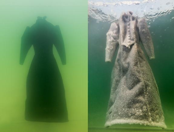 A new piece of artwork by Sigalit Landau shows what happens when objects are submerged in the salty waters of the Dead Sea. The black dress on the left transformed into the sparkly salt sculpture on the right