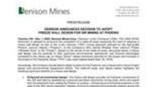 Denison Announces Decision to Adopt Freeze Wall Design for ISR Mining at Phoenix
