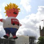 Boris blimp flies over Parliament Square as anti-Brexit protesters gather for major march