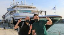 Covid tests and champagne – first international cruise since lockdown leaves Britain