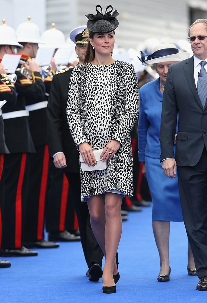 Kate was glowing as she named a cruise ship in a printed Hobbs coat.