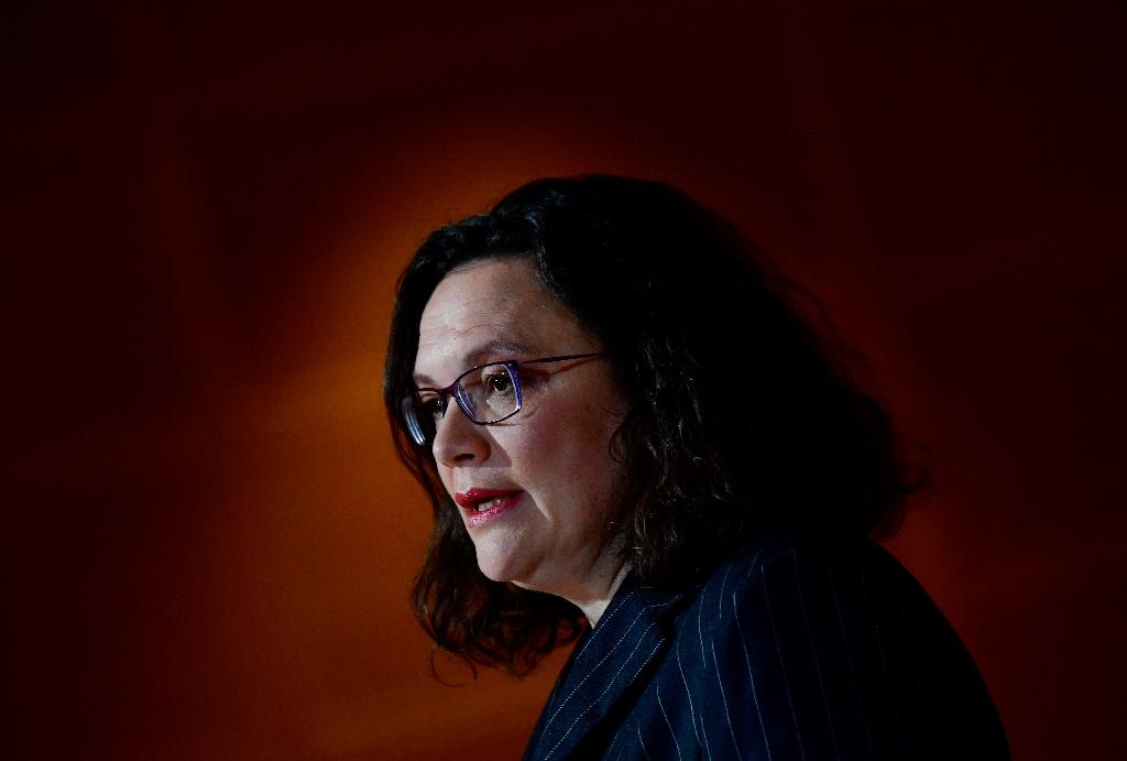 The leader of Germany's social democratic SPD party Andrea Nahles reacts as first exit polls were announced on public television during the state elections in Hesse (Hessen) at the SPD headquarters in Berlin, on October 28, 2018