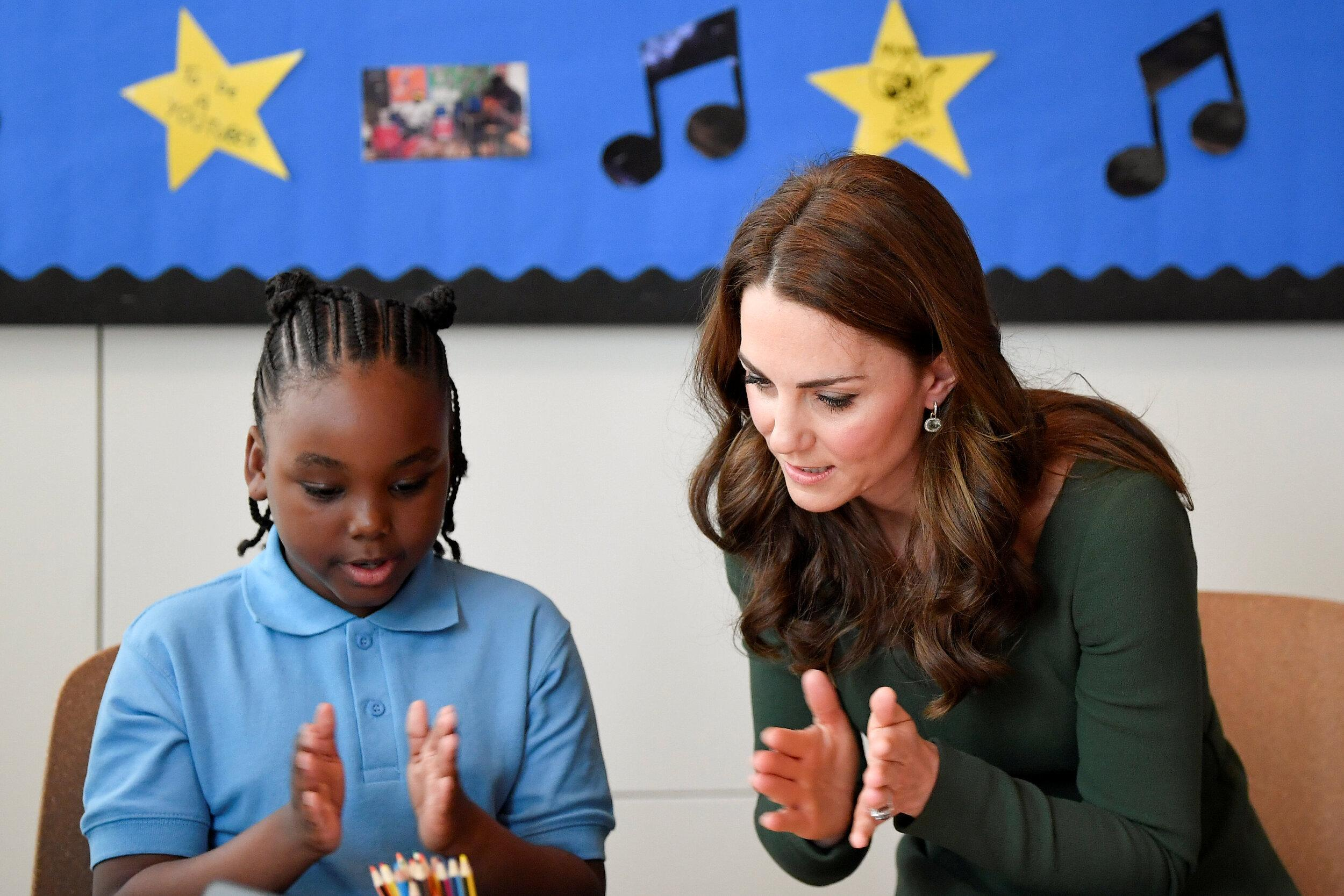 Britain's Catherine, Duchess of Cambridge visits the Anna Freud National Centre for Children and Families in London on May 1, 2019. (Photo by TOBY MELVILLE / POOL / AFP)        (Photo credit should read TOBY MELVILLE/AFP/Getty Images)