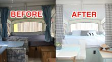 A stay-at-home-mom transforms tent trailers into stunning tiny homes on wheels on a budget