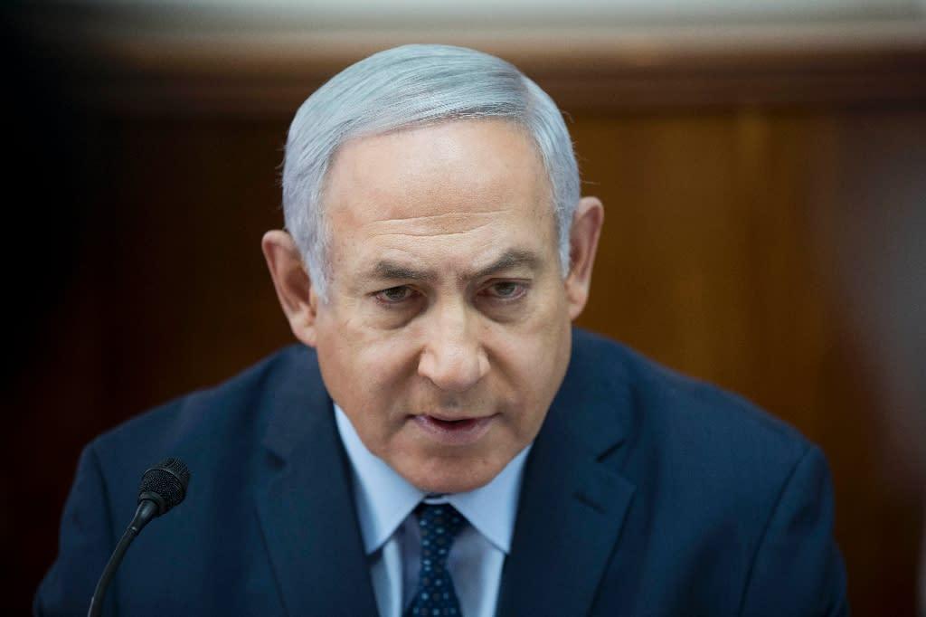 Israeli Prime Minister Benjamin Netanyahu leads his weekly cabinet meeting at his office in Jerusalem on January 27, 2019