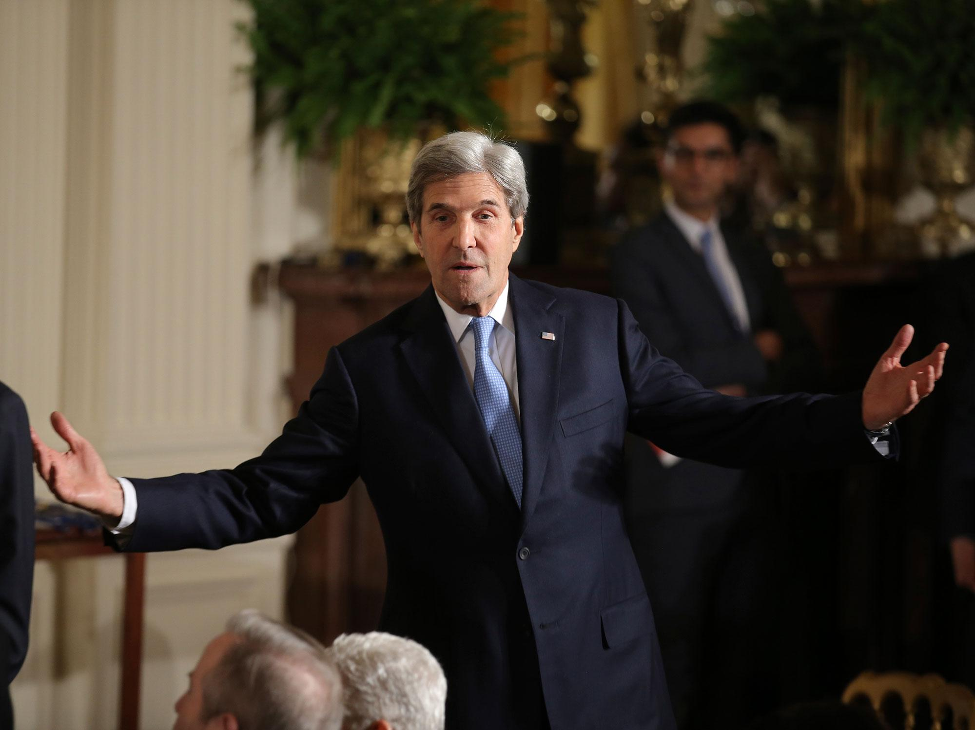 <p>U.S. Secretary of State John Kerry arrives prior to a Presidential Medal of Freedom ceremony in the White House East Room in Washington, U.S., Nov. 22, 2016. (Carlos Barria/Reuters) </p>