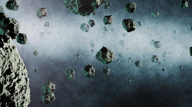 Asteroid belt in outer space