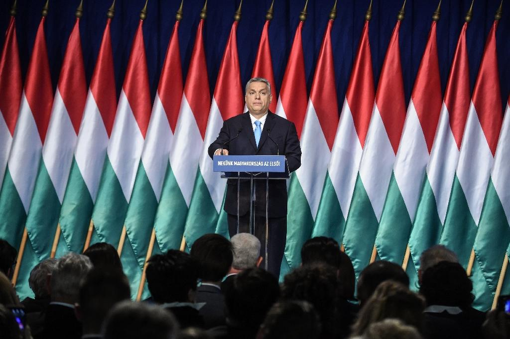 Hungarian Prime Minister Viktor Orban framed the European elections as a choice between Brussels bureaucrats under the sway of 'money men' and sovereign nation states defending 'tradition' and 'Christianity' (AFP Photo/ATTILA KISBENEDEK)