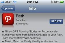 Path 2.1 update adds Nike+, Music Match and a new filter