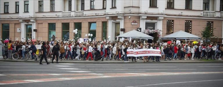 Belarus women marched in central Minsk Saturday