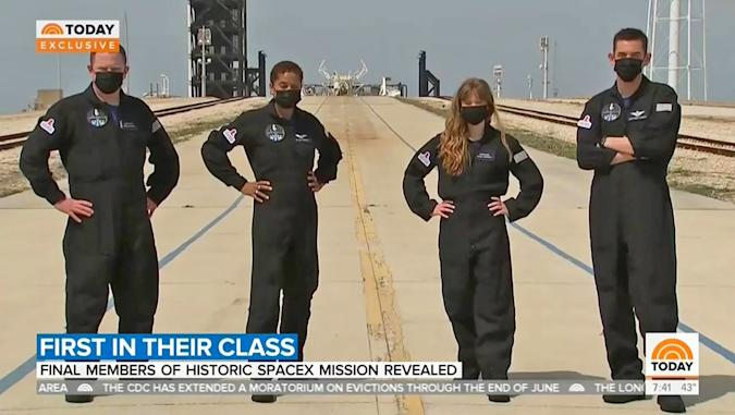 A still from a Today news broadcast showing four people picked as the first all-civilian crew.