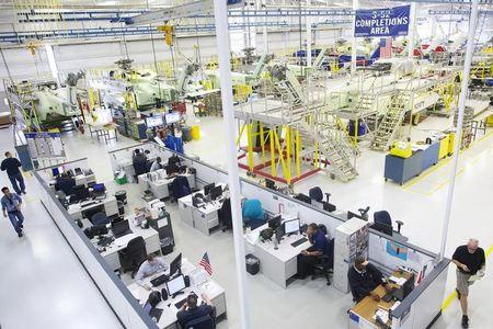 Aircraft technicians and support staff work at Sikorsky Global Helicopters in Coatesville, Pennsylvania