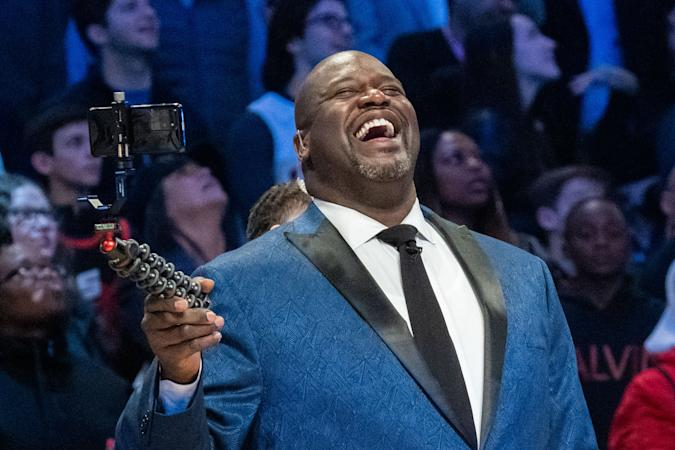 February 15, 2020; Chicago, Illinois, USA; NBA great Shaquille O'Neal during NBA All Star Saturday Night at United Center. Mandatory Credit: Kyle Terada-USA TODAY Sports