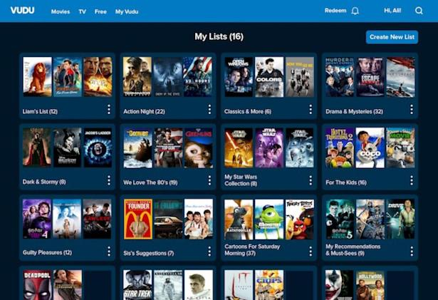 Vudu's 'Lists' feature helps you organize your video collection